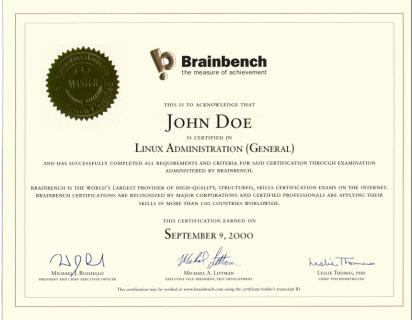 Что такое brainbench сертификация стандартизация и сертификация изделий из